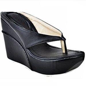 NWOT Black Slip-on Platform Wedge Sandals 6W
